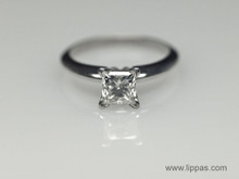 14 Karat White Gold Princess Cut Diamond and Platinum Solitaire