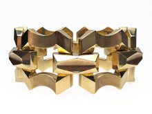 14 Karat Yellow Gold Wide Retro Link Bracelet