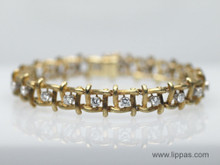 18 Karat Yellow Gold Textured Square Link Diamond Bracelet