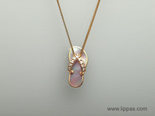 14 Karat Rose Gold, Diamond, and Mother of Pearl Flip Flop Pendant