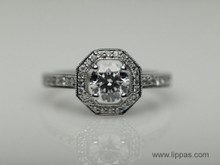 14 Karat White Gold Octagonal Halo Diamond Ring