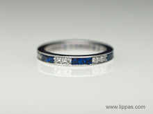18 Karat White Gold Diamond and Sapphire Eternity Band
