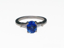 Platinum Oval Sapphire and Diamond Estate Ring