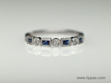 18 Karat White Gold French Cut Sapphire and Diamond Band