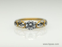 Platinum and 24 Karat Yellow Gold Diamond Semi Mount