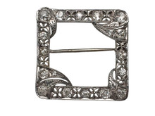18 Karat White Gold 1930's Diamond Square Brooch