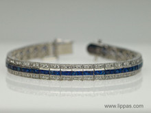 18 Karat White Gold Sapphire and Diamond Line Bracelet