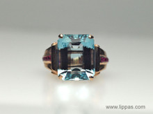 14 Karat Rose Gold Aquamarine and Ruby Retro Ring