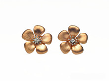 14 Karat Rose Gold Satin Finish Flower Diamond Earrings