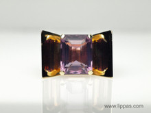 14 Karat Yellow Gold and Emerald Cut Amethyst Retro Ring