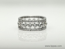 18 Karat White Gold Three Row Diamond Eternity Band