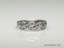 14 Karat White Gold Diamond Braided Band