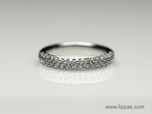 14 Karat White Gold Three Row Pave Diamond Band