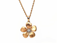 14 Karat Brushed Rose Gold Diamond Flower Pendant