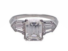 Platinum Emerald Cut Diamond Ring with Bullet Cut Diamond Sides