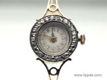 14 Karat Ladies Rose Cut Diamond Bezel Antique Watch