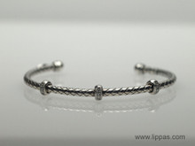 Silver Basket Weave Cuff Bracelet With Three Diamond Stations