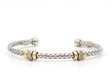 Silver and 18 Karat Yellow Gold Weave Bracelet With Two Diamond Stations