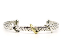 Silver Flat Weave Cuff Bracelet with Gold Twist Accents