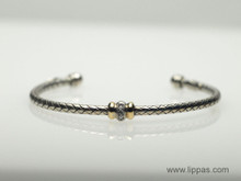 Silver and 18 Karat Yellow Gold Diamond Single Station Woven Bracelet
