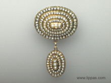 14 Karat Yellow Gold Victorian Natural Seed Pearl Pendant/ Brooch