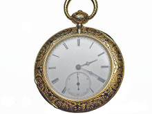 18 Karat Yellow Gold Engraved Pocket Watch
