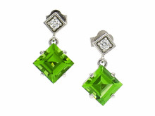 Peridot and Diamond Bezel Set Drop Earrings