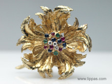 14 Karat Yellow Gold and Gem Set Blooming Rose Brooch