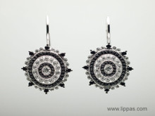 14 Karat White and Black Diamond Circle Earrings