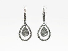 14 Karat White Gold Pavé Diamond Pear Shaped Dangle Earrings