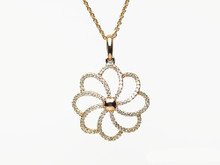 14 Karat Rose Gold Diamond Flower Pendant