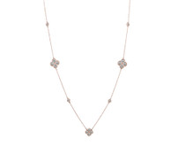 32 Inch 14 Karat Rose Gold Diamond Cluster Necklace