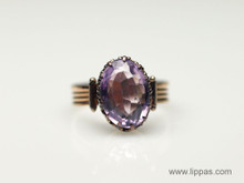 10 Karat Yellow Gold Victorian Oval Amethyst Ring