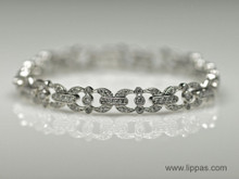 14 Karat White Gold Diamond Edwardian Style Bracelet