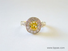 Platinum Fancy Intense Yellow Cushion Cut and White Diamond Ring