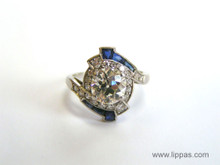 Platinum Art Deco Old Mine Diamond Ring with Sapphire Accents
