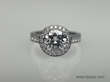 Platinum Custom Made Round Diamond Halo Ring