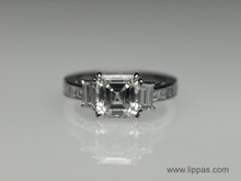 Platinum Custom Made Asscher Cut Diamond Ring