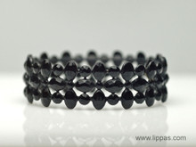 Black Faceted Metal Bangle Bracelet