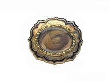 14 Karat Yellow Gold Victorian Black Enamel Hair Brooch