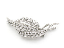 18 Karat White Gold Diamond Floral Spray Brooch