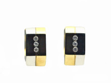 14 Karat White and Yellow Gold Hexagonal Flush Set Diamond Huggie Earring