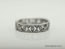 18 Karat White Gold Marquise Shaped Cut Out Diamond Band