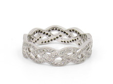 18 Karat White Gold Woven Diamond Band