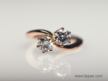 14 Karat Rose Gold Custom Diamond Bypass Ring