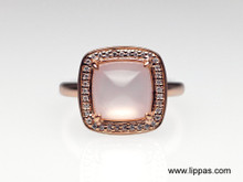 14 Karat Rose Gold Rose Quartz and Diamond Ring