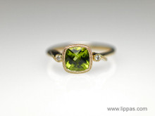 14 Karat Yellow Gold Cushion Cut Peridot and Diamond Ring