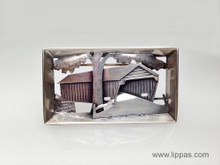 "Silver Hand Made ""Covered Bridge"" Brooch"