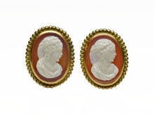 14 Karat Yellow Gold Hardstone Cameo Clip Earrings