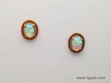 14 Karat Yellow Gold Opal Stud Earrings